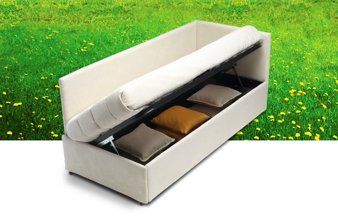 Divano letto con schienale ad angolo pagabile 12 mesi for Divano letto con contenitore