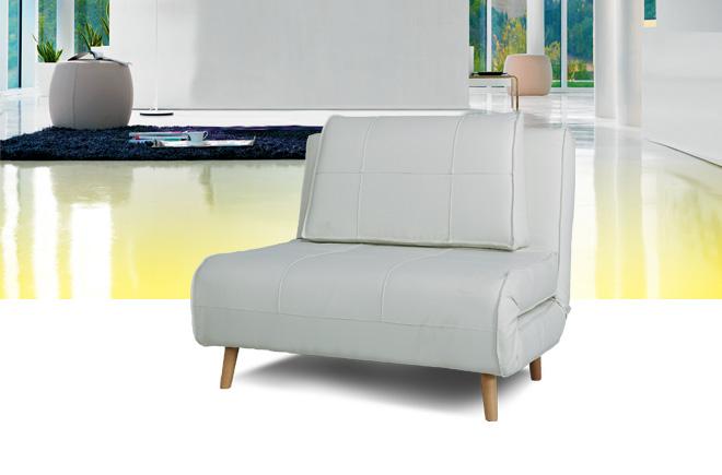 Divano letto in ecopelle bianca super offerta for Materassi x divano letto