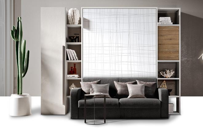 Letto A Scomparsa Con Divano E Armadio : Letto a scomparsa con armadio e divano materassi